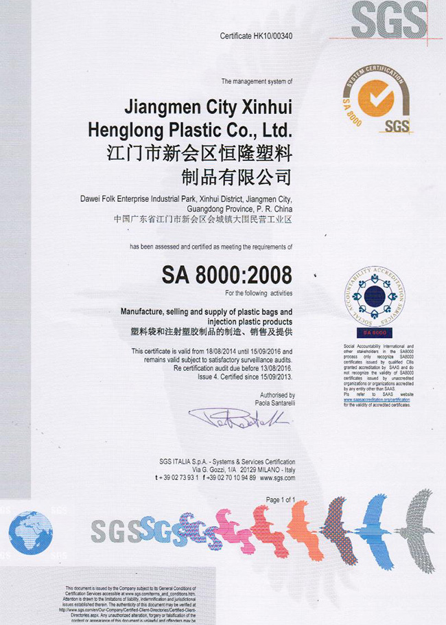 SA8000-2008 Qualification certificate Social Accountability 8000 International standard